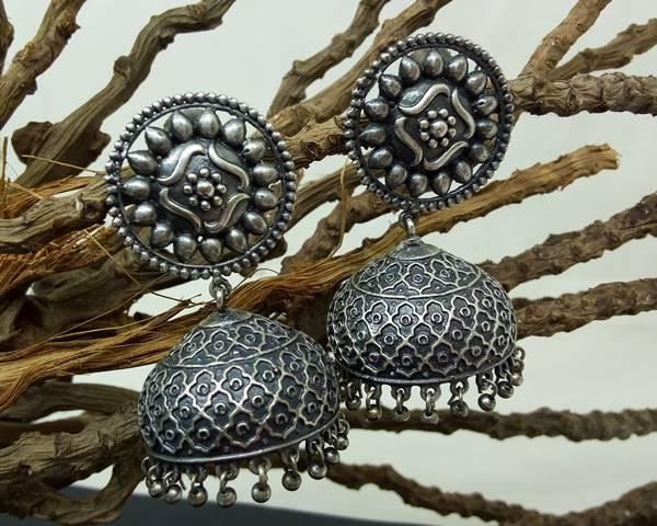 Silver Replica Jhumkas