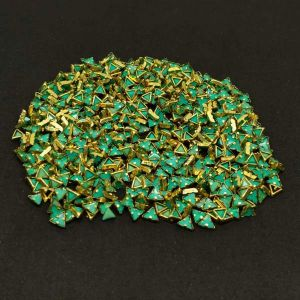 Kundan Stones, 5mm, Triangle, Pack Of 10 Gms, Turquoise Green