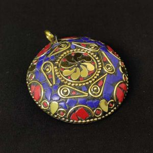 Tibetan Pendant, Round, Royal Blue And Red